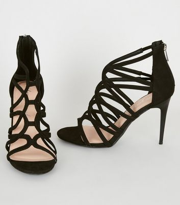 shop for Black Suedette Swirl Strappy Stilettos New Look at Shopo