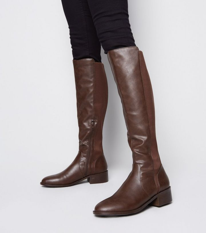 how to buy best selling detailed pictures Dark Brown Leather-Look Flat Knee High Boots Add to Saved Items Remove from  Saved Items