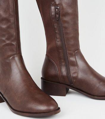 Dark Brown Leather-Look Flat Knee High