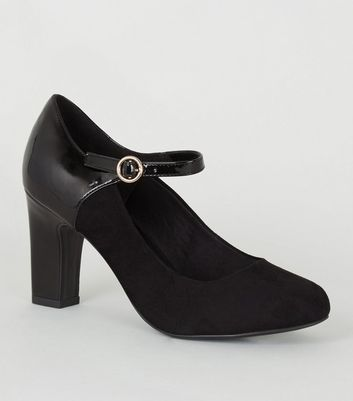 Wide Fit Black Mixed Mary Jane Court