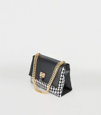 Black Dogtooth Padlock Bag New Look