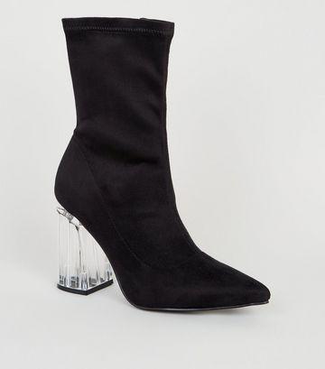 Black Suedette Clear Heel Sock Boots