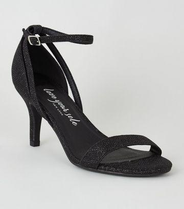Wide Fit Black Glitter Sandals