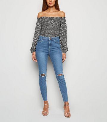 Blue Ripped High Waist Raw Hem Hallie Jeans