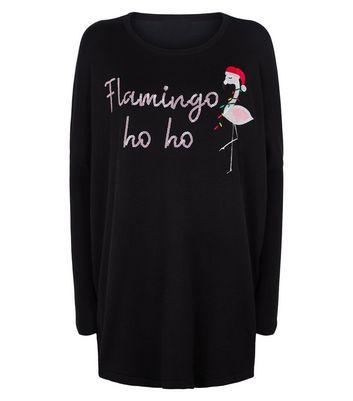 Blue Vanilla Black Christmas Flamingo Slogan Jumper New Look