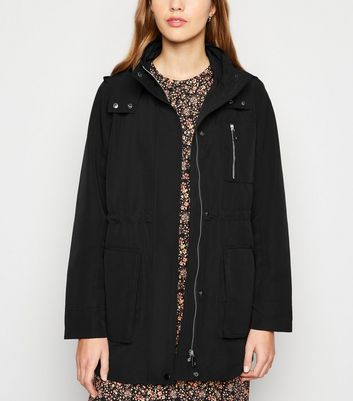 Black Zip Up Hooded Anorak by New Look