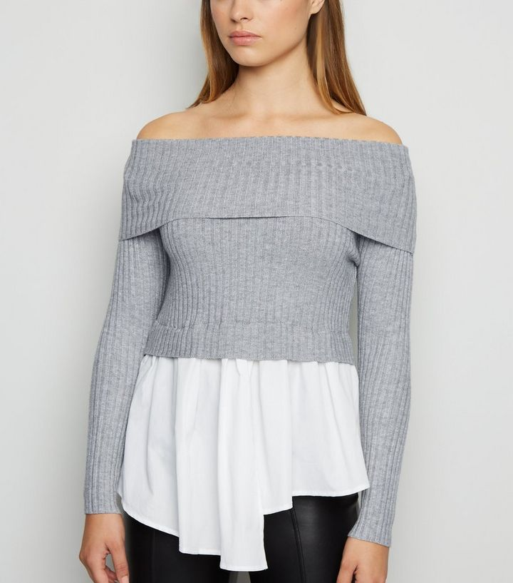 outlet store where to buy exclusive range Cameo Rose Grey Bardot 2 in 1 Jumper Add to Saved Items Remove from Saved  Items