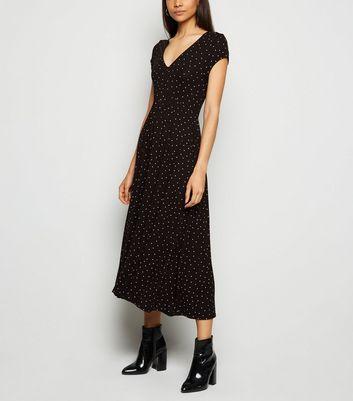 Black Spot V Neck Jersey Midi Dress by New Look