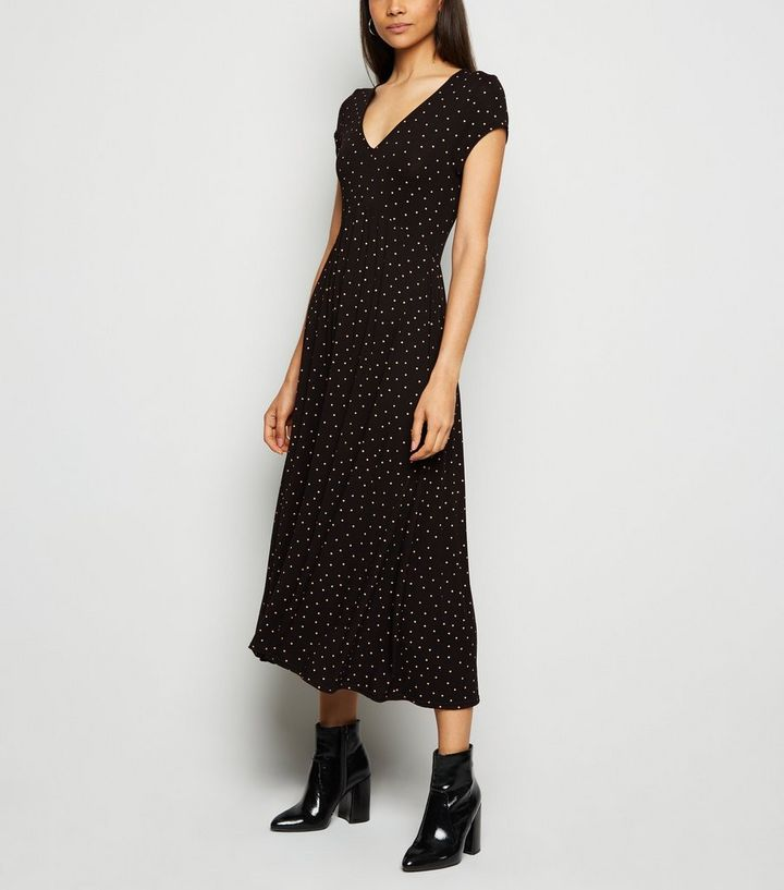 771b75628bb Black Spot V Neck Jersey Midi Dress Add to Saved Items Remove from Saved  Items