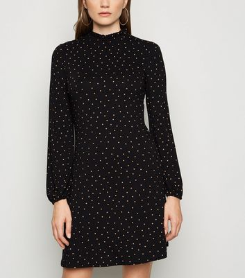 Black Spot Frill Neck Long Sleeve Dress by New Look