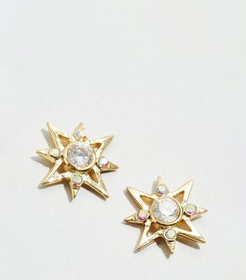 Affinity Gold Plated Cubic Zirconia Star Earrings New Look