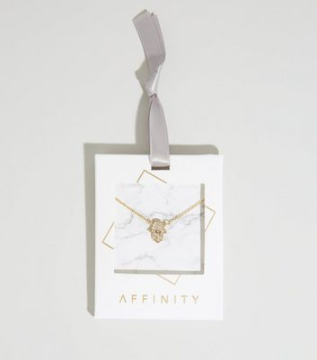 Affinity Gold Diamanté Hand Pendant Necklace New Look
