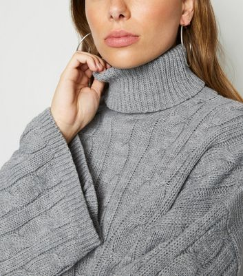 Carpe Diem Dark Grey Roll Neck Cable Knit Jumper | New Look