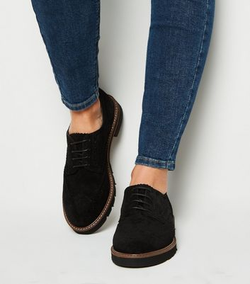 Black Suede Lace Up Chunky Brogues