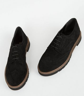 Click to view product details and reviews for Black Suede Lace Up Chunky Brogues New Look.