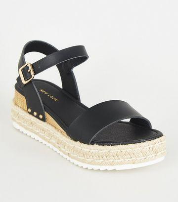 Black Leather-Look Espadrille Flatform Sandals