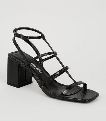 Black Faux Snake Strappy Sandals