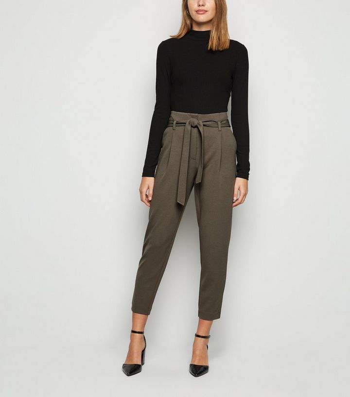 official supplier classic shoes cheap price Khaki Scuba Tie High Waist Trousers | New Look