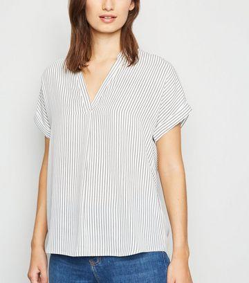 White Stripe Short Sleeve Dip Hem Blouse