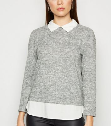 JDY Pale Grey 2 In 1 Collared Jumper | New Look