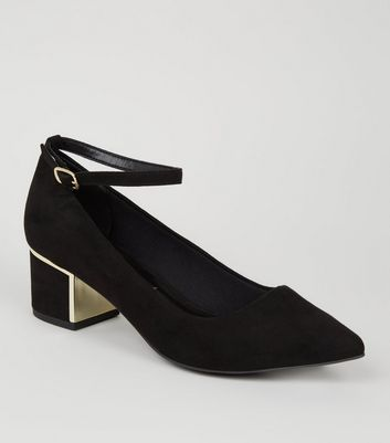 Wide Fit Black Suedette Ankle Strap