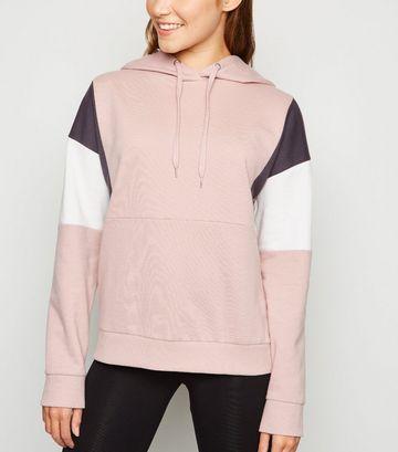 Pale Pink Colour Block Hoodie
