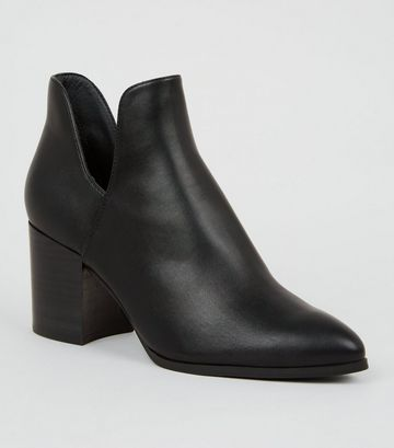 Black Leather-Look Cut Out Heeled Boots