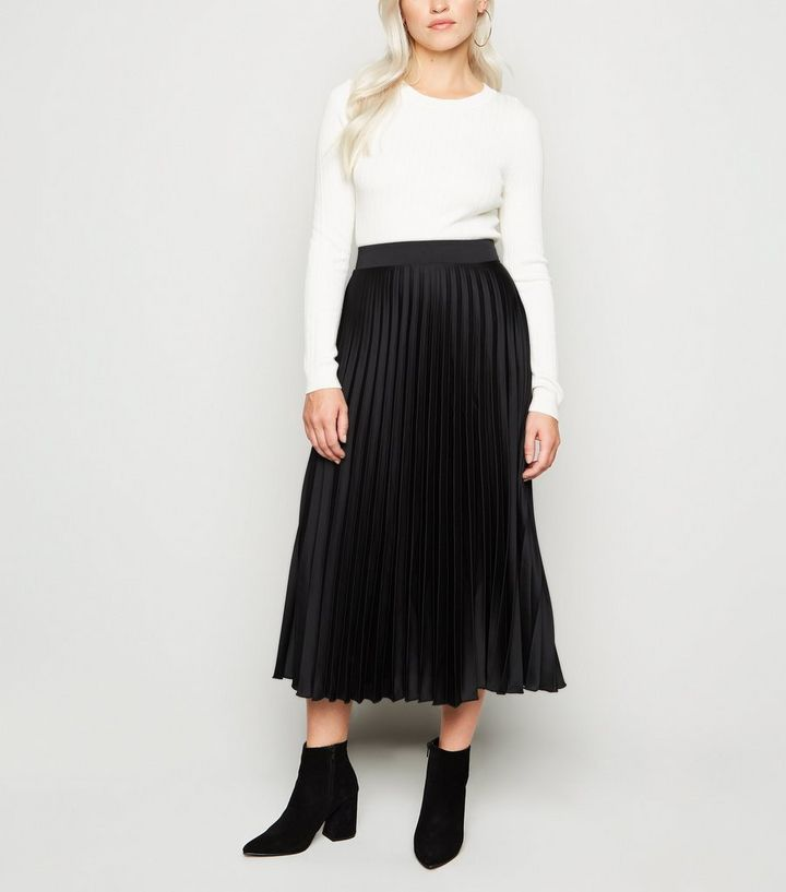 provide large selection of new style best Petite Black Satin Pleated Midi Skirt Add to Saved Items Remove from Saved  Items