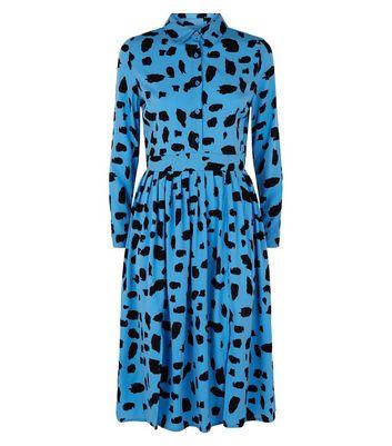 Influence Blue Animal Print Midi Shirt Dress New Look