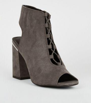Grey Suedette Lace Up Peep Toe Heels