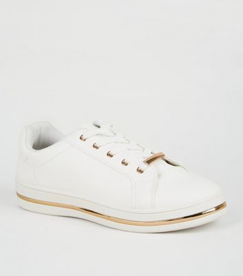 White Leather-Look Metal Trim Trainers