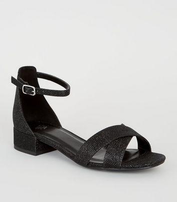 Girls Black Glitter Low Block Heel