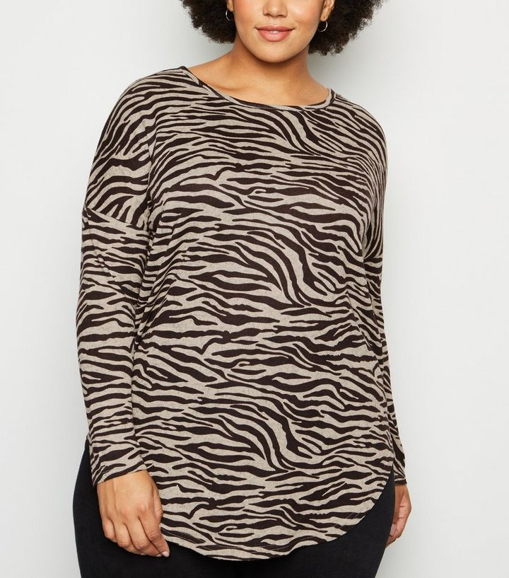 sleek newest style hot-selling latest Blue Vanilla Curves Brown Zebra Print Top Add to Saved Items Remove from  Saved Items