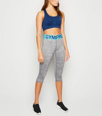 GymPro Grey Elastic Slogan Capri Sports Leggings New Look