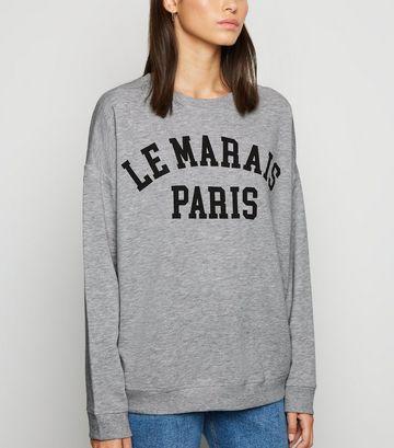 Grey Paris Slogan Sweatshirt