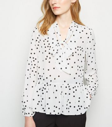 White Spot Tie Neck Frill Blouse