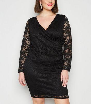Curves Black Lace Mini Dress by New Look