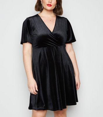 Curves Black Velvet Mini Dress by New Look