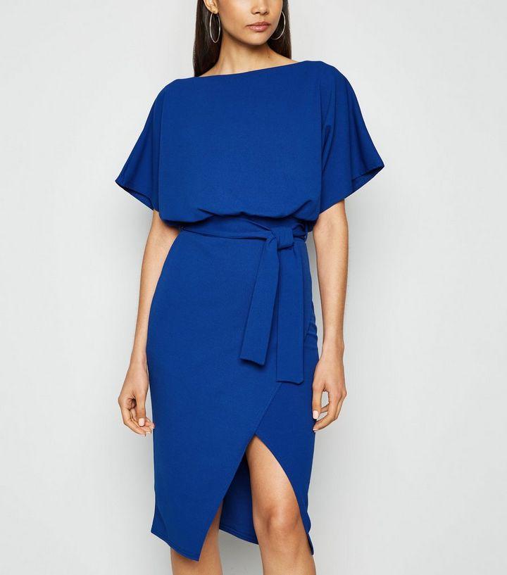Missfiga Robe Portefeuille Bleue A Manches Chauve Souris Et Nœud A La Taille New Look