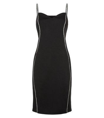 Blue Vanilla Black Diamanté Strap Bodycon Dress New Look