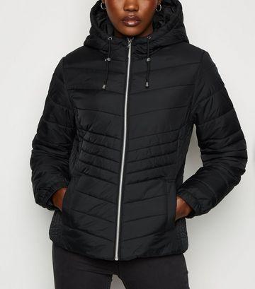 Black Lightweight Hooded Puffer Jacket