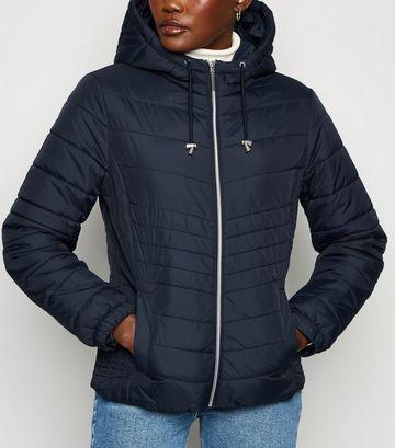 Navy Lightweight Hooded Puffer Jacket