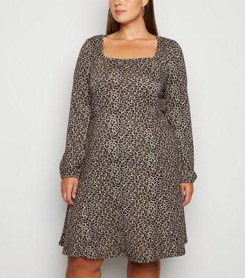 Blue Vanilla Curves Light Grey Leopard Print Dress by New Look