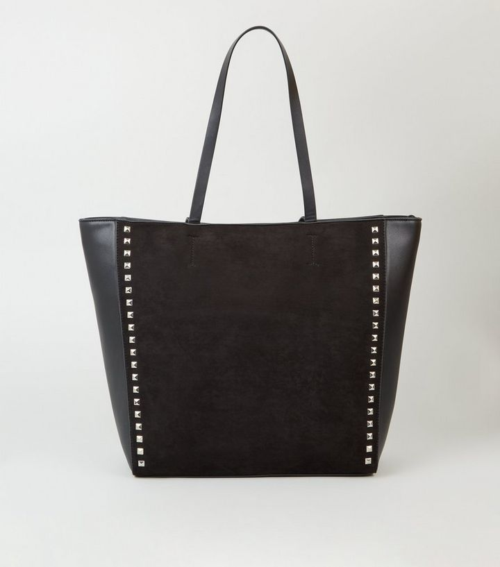 Black Leather Look Stud Trim Tote Bag Add To Saved Items Remove From