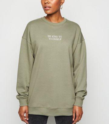 Khaki Be Kind To Yourself Slogan Sweatshirt