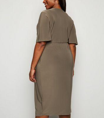 Just Curvy Khaki Wrap Midi Dress New Look