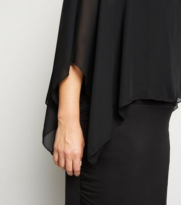 Just Curvy Black Chiffon Layered Cape Dress New Look