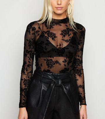 Black Floral Flocked Mesh Long Sleeve Top