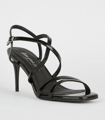Black Patent Strappy Stiletto Sandals