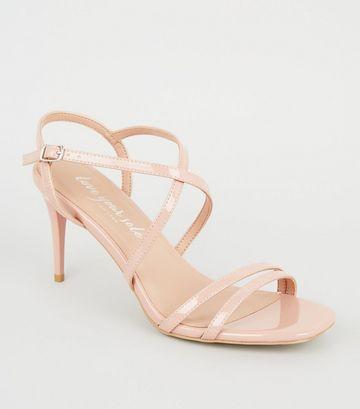 Pale Pink Patent Strappy Stiletto Sandals